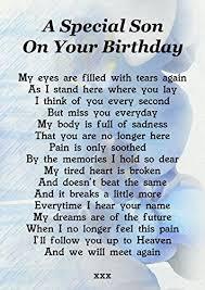 A Special Son On Your Birthday Memorial Graveside Poem Keepsake ...