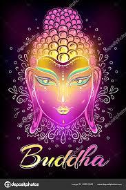 beautiful buddha face in neon colors