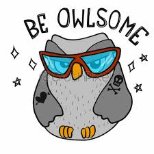be owlsome cool cute owl with sun