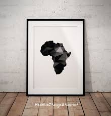 Africa Continent Map Black And White Map Art Print World Map Etsy World Map Art African Wall Art Geometric Poster