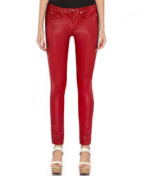 women skinny low waist leather pants