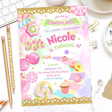 Candyland Party Invitation Candy Land Birthday Invitation