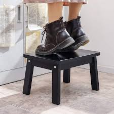 Amazon Com Houchics Solid Birch High Gloss Step Stool Wooden Kids Potty Training Stool With 220lb Load Capacity Foot Stool For Kitchen Bedroom Living Room Bathroom Black Kitchen Dining