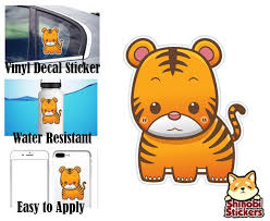 Cute Simple Kawaii Zoo Wild Animal Cartoon Icon Water Resistant Car Vi Shinobi Stickers