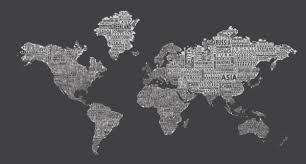 1 World Text Map Wall Mural Inverse Grey Modern Wall Decals By 1 World Globes Maps