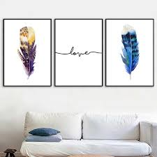Blue Purple Feather Love Quotes Wall Art Canvas Painting Nordic Posters And Prints Wall Pictures For Living Room Kids Room Decor Painting Calligraphy Aliexpress
