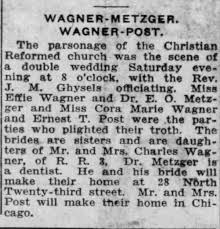 Ernest Post and Cora Wagner Wedding - Newspapers.com