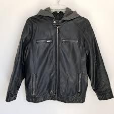 boys fauxleather black hooded jacket