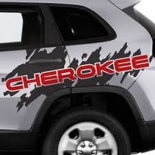 Product 2 Color Jeep Cherokee Logo Trailhawk Side Splash Logo Graphic Vinyl Decal Grunge
