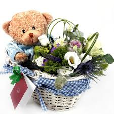flower basket and teddy pinay gifts