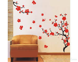 Plum Blossom Flowers Wall Stickers Plum Tree With Two Branches Wall Decals Flower Stickers Home Decors