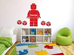 Amazon Com Customer Made Lego Wall Sticker Personalised Boys Personalized Name Bedroom Wall Art Decal Sticker You Choose Name And Color Kitchen Dining