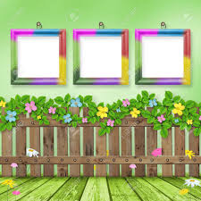 Wooden Fence With A Flower Garland On The Background Of A Summer Stock Photo Picture And Royalty Free Image Image 6422048