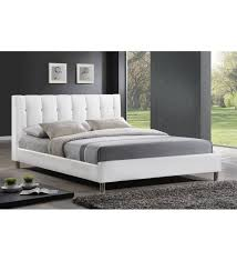 vino white faux leather platform bed