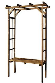 horizontal tan wooden garden arch with