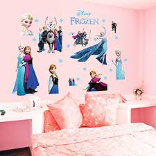 Yournelo Kid S Disney Cartoon Large Princess Peel And Stick Wall Decal Colorful Decorative Vinyl Sticker For Children Bedroom Nursery Playroom Mural Frozen Baby B0784rxmsc
