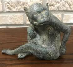 monkey animal statue bronze finish