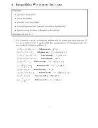 worksheet ideas solve inequalities pdf