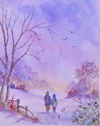 Pamela West - An evening walk in the snow - Artists & Illustrators -  Original art for sale direct from the artist