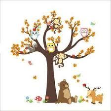 1 Rainbow Fox Kids Animal Wall Stickers Tree Wall Stickers Owl Stickers Monkey Decal Wall Decor Home Kitchen
