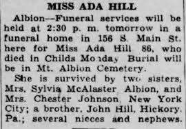 Obituary for ADA HILL Hill (Aged 86) - Newspapers.com