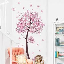 الوردي فراشة شجرة ورد ملصقات جدار الشارات الفتيات النساء زهرة