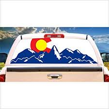 Amazon Com Tire Cover Central Colorado Flag Mountain Logo Rear Window Mural Decal Or Tint Choose Size Or Send Your Own Measurements Automotive