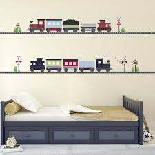 2 Freight Trains Straight Railroad Track Wall Decals Eco Friendly Wa