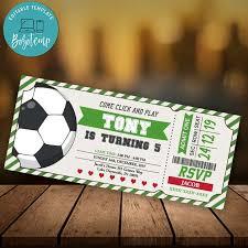 Editable Soccer Ticket Invitation Instant Download Entradas De