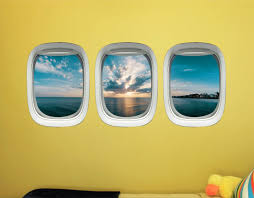 Airplane Window Vinyl Stickers 3d Ocean View Wall Decals Ppw45