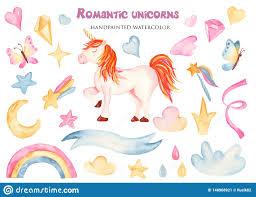 Acuarela Fijada Con Unicornio Lindo Y Las Flores Del Rosa De La