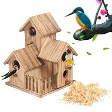 Skyropng Bird Feeders Wood Garden Diy Bird House Feeding Stations Small Wild Bird Utensils Food Dispenser For Outdoor Birdcage Balcony Pet Supplies Accessories Amazon Co Uk Sports Outdoors