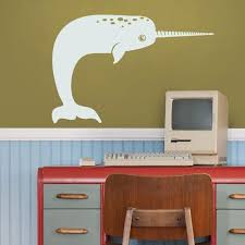 Narwhal Wall Decal Under The Sea Decal Animal Art Narwhal Sticker Kids Room Nursery Decor Sea Animal Art Narwhal Sticker Cute Animal Unique Wall Decals Diy Wall Decals Decal Wall Art