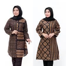 Baju batik atasan ini cocok dengan orang yang menyukai gaya simple dan tidak ribet karena hanya menggunakan atasan dan bawahannya bebas. Model Baju Batik Wanita Terbaru 2020 Atasan Lengan Panjang Tunik Wanita Gemuk Jumbo Size Shopee Indonesia