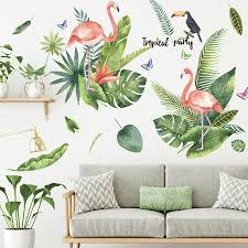 Green Leaf Flamingo Birds Wall Stickers Home Decor Living Room Wall Decals Decorative Wall Art Mural Bedroom Decor Decorations Wall Stickers Aliexpress