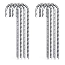 Aagut 8x Galvanized Rebar Tent Stakes J Hook 12 Inch Dog Dig Defence Chain Link Fence Stakes Canopy Yard Landscape Garden Staples Heavy Duty Metal Tent Stakes Steel Ground Anchors Rebarstakes 8 Amazon In