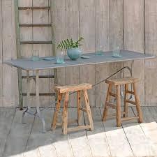 rectangular zinc topped garden table