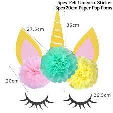 1set Birthday Unicorn Party Decor Diy Unicorn Horn Eyelashes Ear Wall Sticker Paper Pom Poms Baby Shower Party Backdrop Supplies Party Diy Decorations Aliexpress