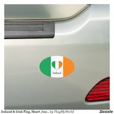 Ireland Irish Flag Heart Car Travel Sticker Car Magnet Zazzle Com In 2020 Travel Stickers Irish Flag Car Travel