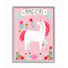 Shop The Kids Room By Stupell Magical Colorful Unicorn Grey Framed 16 X 20 Proudly Made In Usa 16 X 20 Overstock 30335389