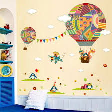 Cartoon Airplane Bear Hot Air Balloons Penguin Removable Wall Sticker Nursery Decals For Kids Room Home Decoration Mural Wall Sticker Removable Wall Stickersnursery Wall Decal Aliexpress