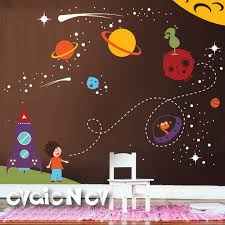 Spaceship Wall Decals Nursery Outer Space Stickers With Etsy Space Wall Decals Nursery Wall Decals Boy Kids Wall Decals