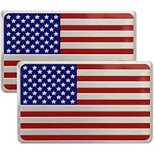 Amazon Com Us American Flag X 2 Chrome Metal Decal Emblem Sticker Subdued For Auto Truck Car Kitchen Dining