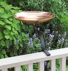 Achla Polished Copper Birdbath With Rail Bracket