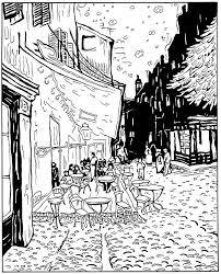 Kleurplaat Vincent Van Gogh Cafeterras Bij Nacht 1888 Met