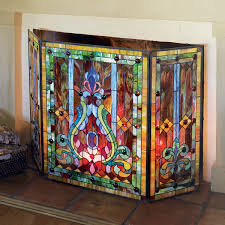 stained glass fireplace screen 30