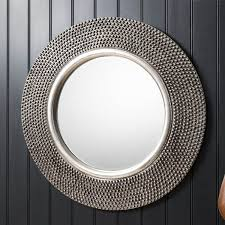 round silver beaded wall mirror 80cm