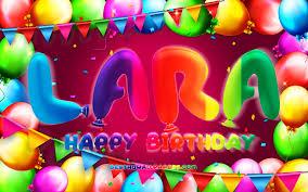تحميل خلفيات عيد ميلاد سعيد لارا 4k الملونة بالون الإطار اسم