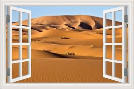 Amazon Com Greathomeart Removable 3d Wall Stickers Desert Scene Decals Creative Window View Landscape Wallpaper For Bedroom Wall Art Decorations 24 X36 Home Kitchen