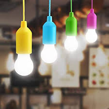 Amazon Com Bjour Led Pull Light Bulb Indoor Outdoor String Light Battery Operated 4 Colors Hanging Tent Lamp For Kids Room Cupboard Garden Camping Cool White 4 Pack Home Improvement